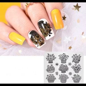 Accessories - Flower Design Print Stencil Nail Art Stamping